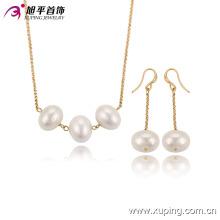63610 Fashion Elegant Charm 18k plaqué or perles ensemble de bijoux d'imitation