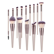 Champagne Gold Premium Synthetic Tapered Handle Custom 14 pcs Cosmetic Kit Blending Face Eyeshadow Makeup Brushes Set