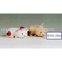 cochon en peluche et peluche avec coeur, doux animal jouet de la Saint-Valentin