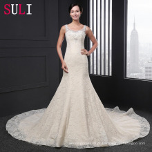 Q-011 Luxo Mermaid U Neck Lace Sequins Wedding Dress 2016