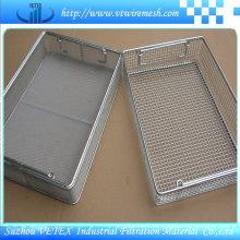 Cesta de malla de compras de acero inoxidable usada en el mercado