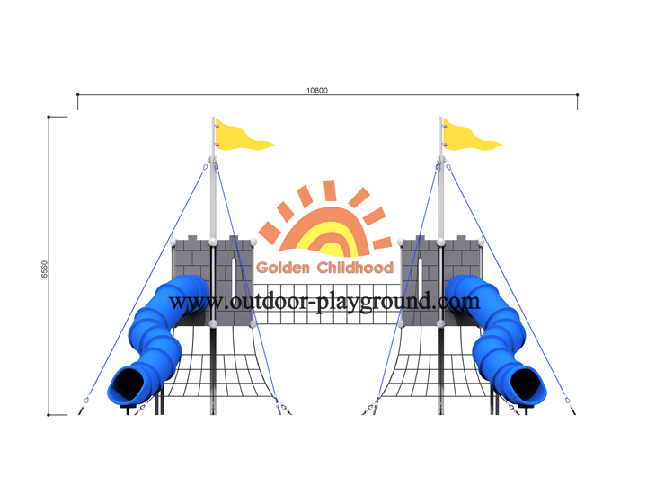 Double Indoor Playground For Toddlers With Tube Size