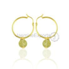 Lemon Quartz Gemstone Earring Jewelry For Bride