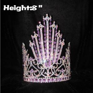Coronas de cristal de 8 pulgadas con diamantes morados
