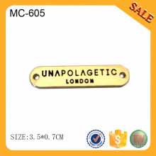 MC605 Gold metal label garment emblems custom
