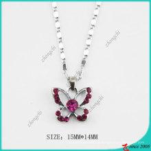 Rose Pink Kristall Mode Schmetterling Halskette (PN)