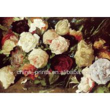 Pintura al óleo hecha a mano de la lona de Rose de la flor impresionista, marco de la pintura para la decoración casera
