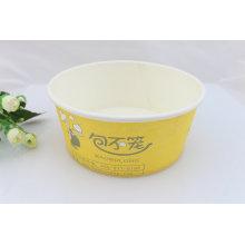 Amarelo descartável personalizado impresso papel alimentar recipiente para escarola salada