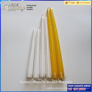 Die beliebteste hotsale weiße Taper Kerze Großhandel flammenlose weiße Kegel Kerze für den Heimgebrauch