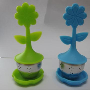 Grönt te infuser Material Safe Silicone Lotus Handle