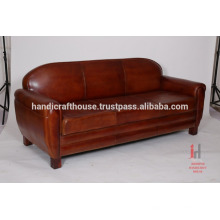 Canapé de salon en cuir antique marron 3 places