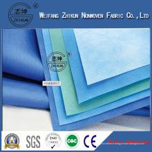 Tissu non tissé imperméable de matériaux tissés de pp + de PE de matériel médical de SMS / SMMS / 22g pp Spunbond SMS