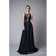 Embroidery A Line Black Chiffon Evening Dress