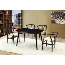 Black Diningroom Set Wish Bone Chair Innovative Dining Table (FOH-BCA68)