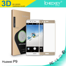 0.2mm 3D curved full cover tempered glass screen protector for HuaWei P9 Black / Gold / White / Transparent