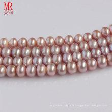 9-10mm Boucles de perles d'eau douce Lavande, bouton rond