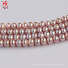 9-10mm Lavender Freshwater Pearl Strands, Button Round