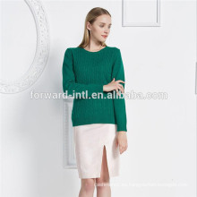Venta caliente popular suéter de cachemira mujer cable de punto