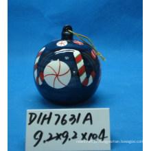 Bola de suspensão de cerâmica redonda para decoração de árvore de natal