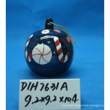 Round Ceramic Hanging Ball for Christmas Tree Decoration