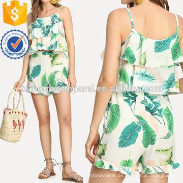 Tiered Rüschen Top mit Shorts Herstellung Großhandel Mode Frauen Bekleidung (TA4109SS)