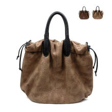 Brown Leather Animal Print Handbags Large For Traveling , Zipper Closure Bags