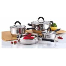 7-Piece Stainless Steel Cookware Sets with Glass Lid