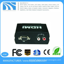 VGA TO HDMI Converter black metal box hdmi to vga converter box with audio 5v power hdmi2vga convertor box for hdt