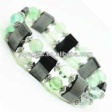 Bracelet de l'espace de l'hématite magnétique avec des perles rondes en alliage et 8MM