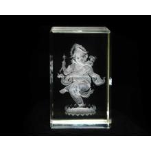 3D Ganesha-Natraj Crystal Cube for Hindu Souvenir Gift (R3017)