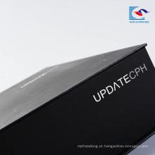 Caixa de embalagem de presente preta fosca personalizada de papelão de luxo