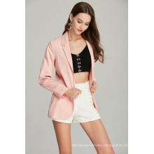 pink casual fashion ladies blazer for Spring Autumn