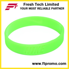 Brillo en la oscuridad personalizadas silicona wristband sin logotipo