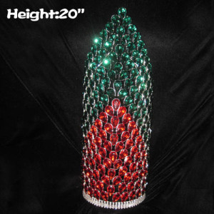 20in Height Large Red Green Diamonds Pageant Crowns