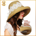 Customized Logo Print Wholesale Women Boater Beach Straw Hat