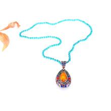 Handgemachte lange Türkis Perlen große Anhänger Halskette
