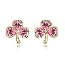 Treet Shape Light Red Crystal Stud Earrrings with 24K Gold Plated CZ stud earrings 2013012650