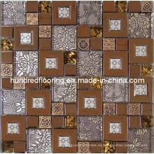 Mosaico de pared, mezcla de vidrio acero inoxidable mosaico de metal (sm204)