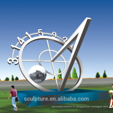 2016 Acier inoxydable Round The Moon Art abstraite Sculpture / Modern Large Landscape Statue