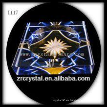 Cenicero de cristal K9 con imagen grabada a mano