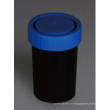 Contenants d'urine et de selles noirs, PP, 100 ml
