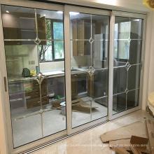 Woodwin alta calidad de doble vidrio templado rompe la puerta de aluminio de la rotura de aluminio