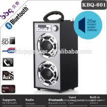SD USB FM Headphone karaoke remote control portable wooden speaker