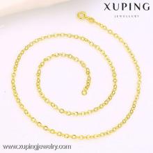 42778 xuping collier de chaîne en or simple plaqué en or 14K, dessins de chaîne de cou en or