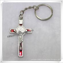 Metal Key Chain Cross Charm Ladies Keychain / Cross Key Chain (IO-CK059)