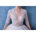 Sexy V-Ausschnitt Kurzarm Perlen Brautkleid Brautkleid HA601