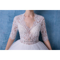 Sexy V-neck Short Sleeve Beaded Wedding Dress Bridal Gown HA601