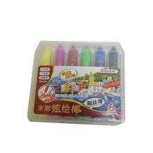 6 pcs enfants école fluence huile pastel instrument marqueur crayon de cire soluble dans l'eau