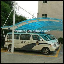 Rainproof polycarbonate sheet covering carport canopy