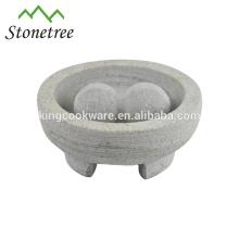 Mortier et pilon bon marché à 3 pieds en marbre et granit